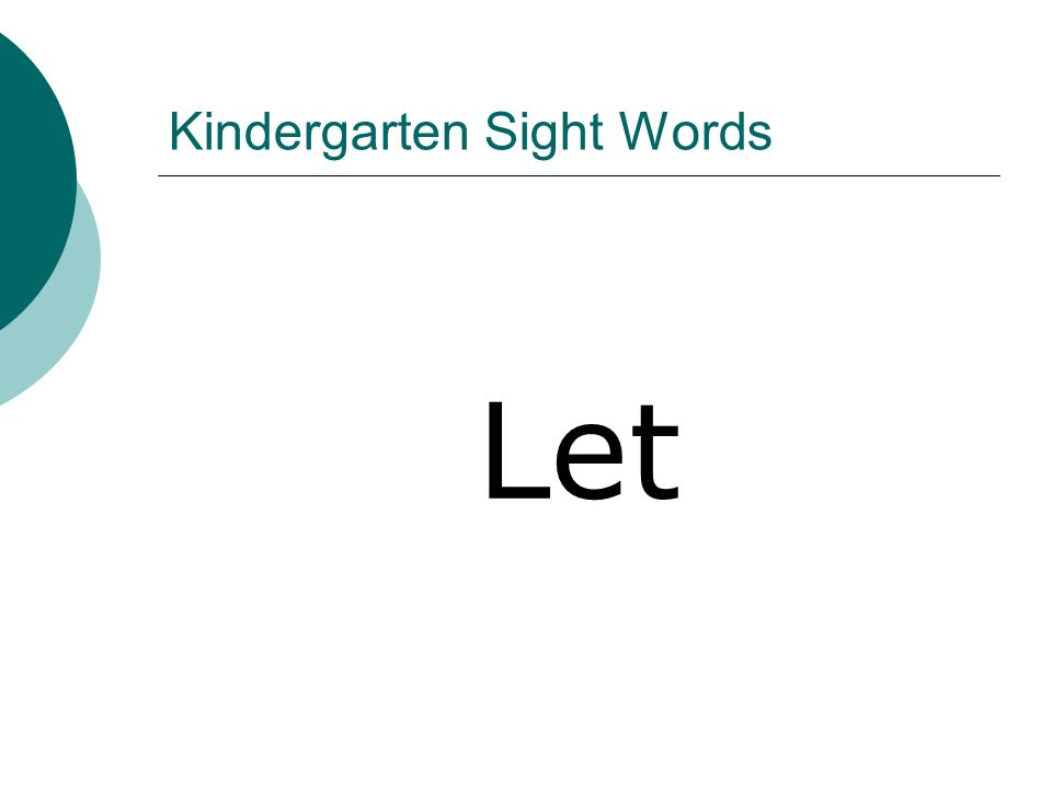 Kindergarten Sight Words Let