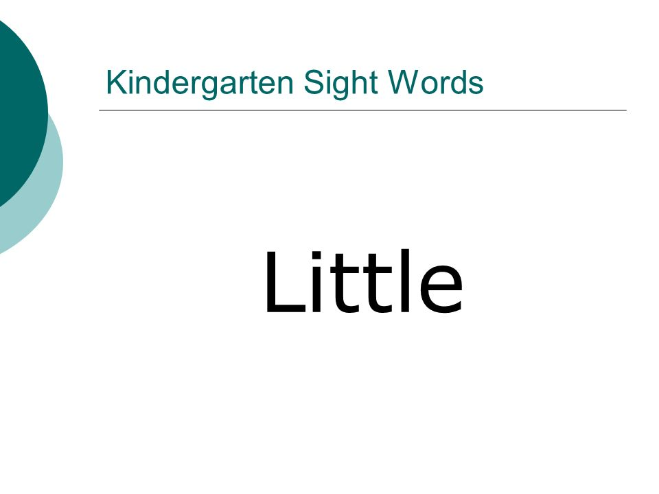 Kindergarten Sight Words Little