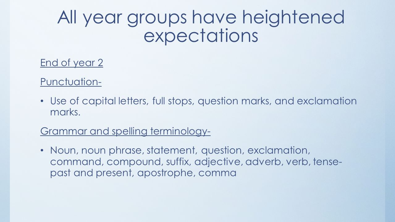 Expectations in English. All year groups have heightened ...