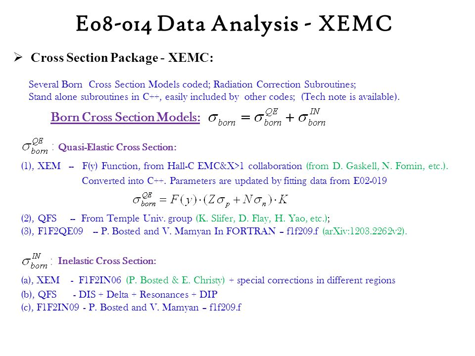  Cross Section Package - XEMC: Quasi-Elastic Cross Section: (1), XEM -- F(y) Function, from Hall-C EMC&X>1 collaboration (from D.