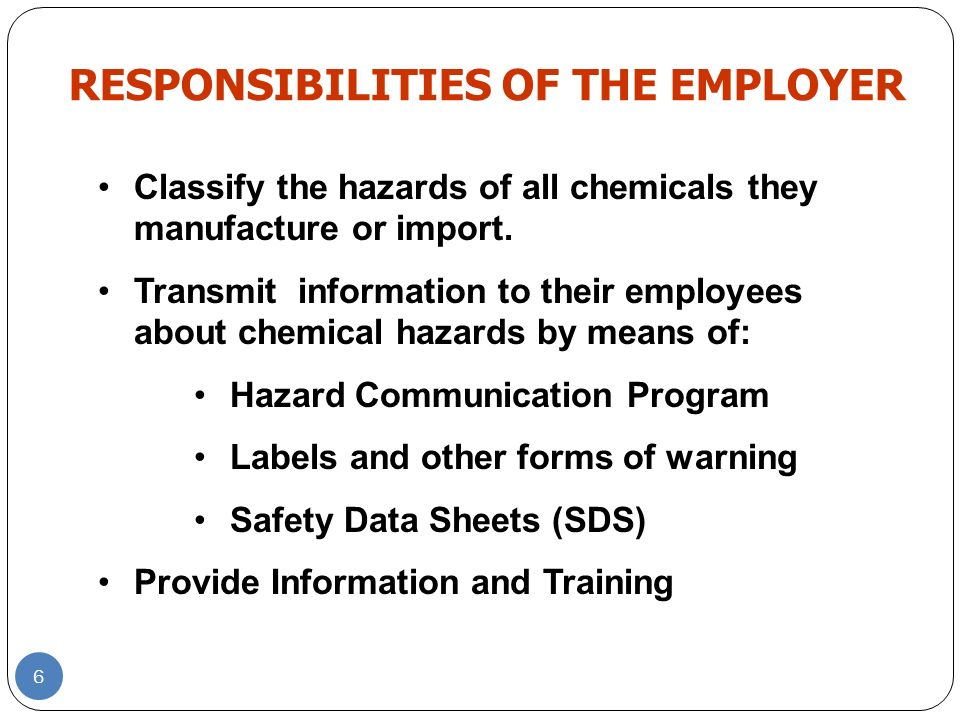 EMPLOYEE RIGHT TO KNOW Employees have both a need and a right to know the hazards and identities of the chemicals to which they are exposed and necessary protective measures to prevent injury or illness.