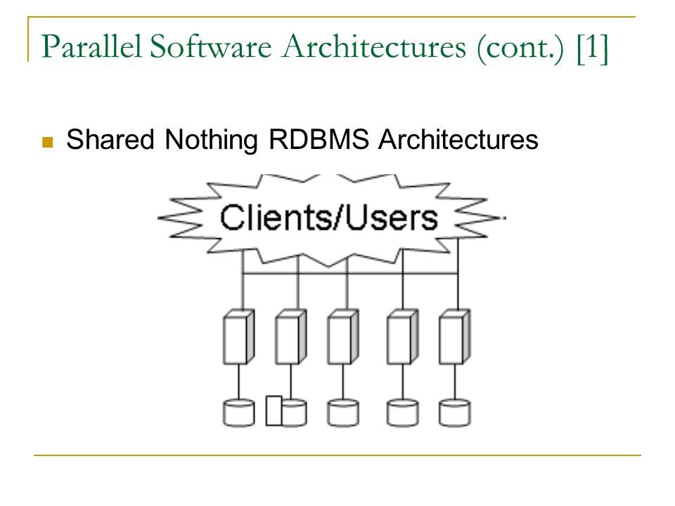 Parallel Software Architectures (cont.) [1] Shared Nothing RDBMS Architectures