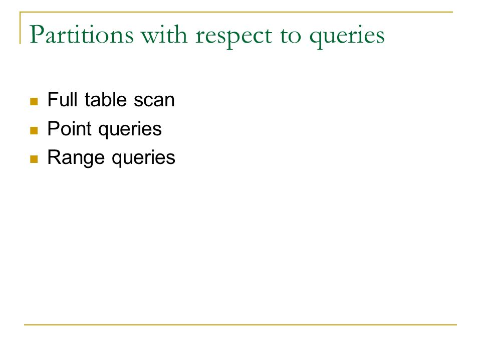 Partitions with respect to queries Full table scan Point queries Range queries