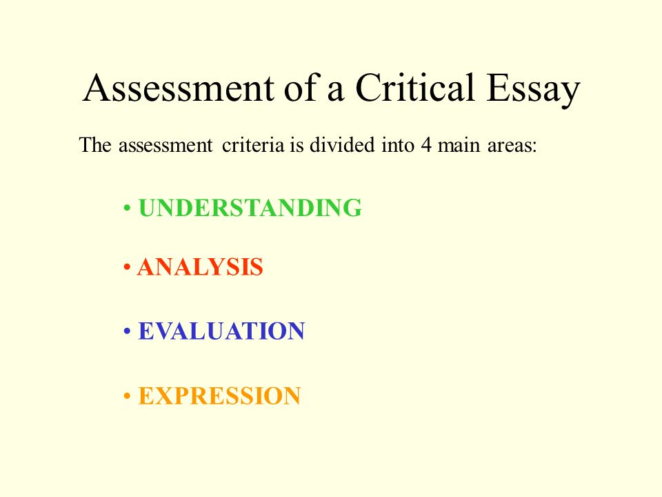 purpose of essays as assessment Find out how using a broader range of assessment methods can can help to motivate students above and beyond more traditional methods of assessment, such as essays.
