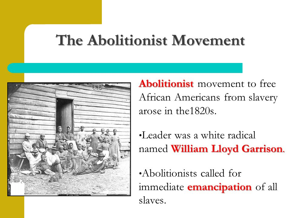 The Abolitionist Movement Abolitionist Abolitionist movement to free African Americans from slavery arose in the1820s.