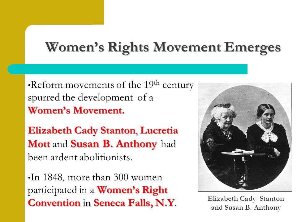 Women's Rights Movement Emerges Women's Movement.