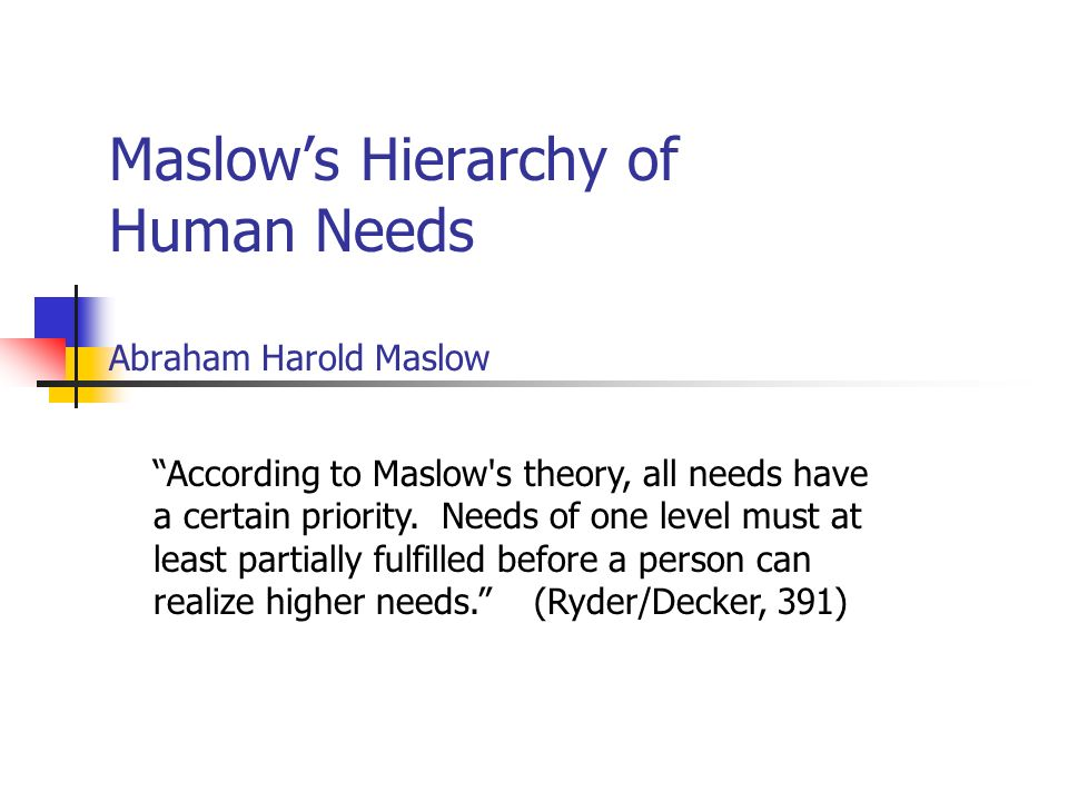 Maslow's Hierarchy of Human Needs Abraham Harold Maslow According to Maslow s theory, all needs have a certain priority.