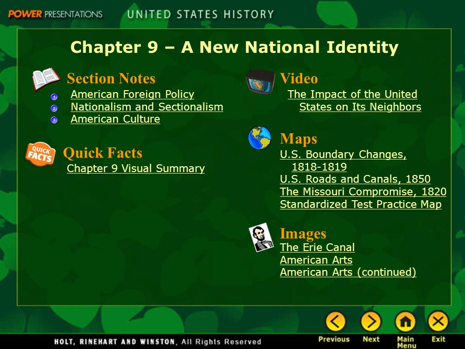 Chapter 9  A New National Identity Section Notes American Foreign