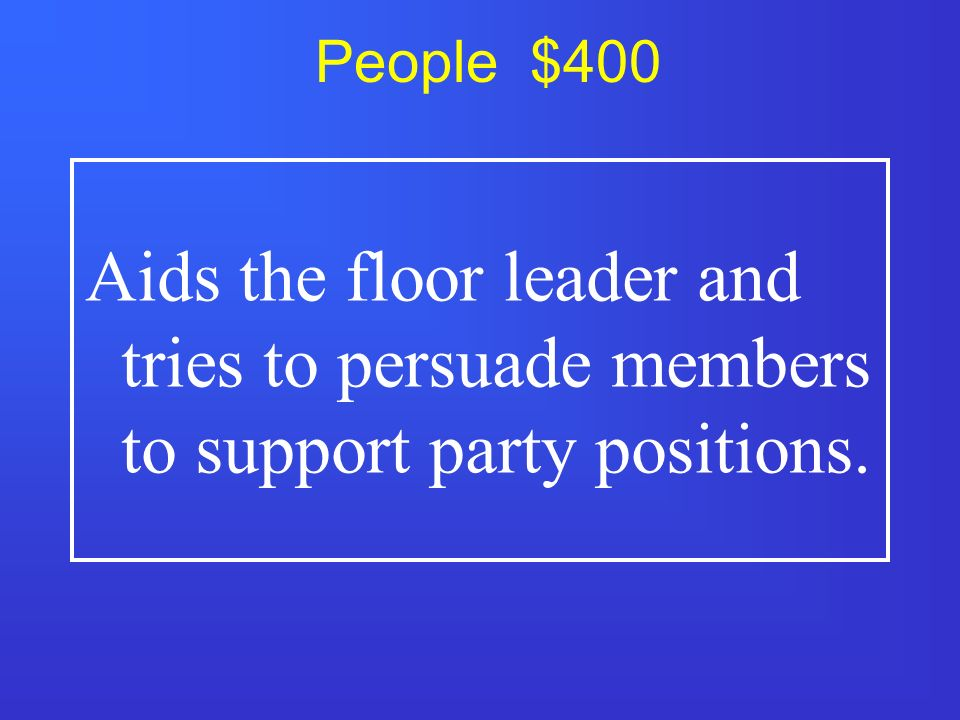 People $300 Guides bills through Congress and is chief officer of his or her party in Congress.