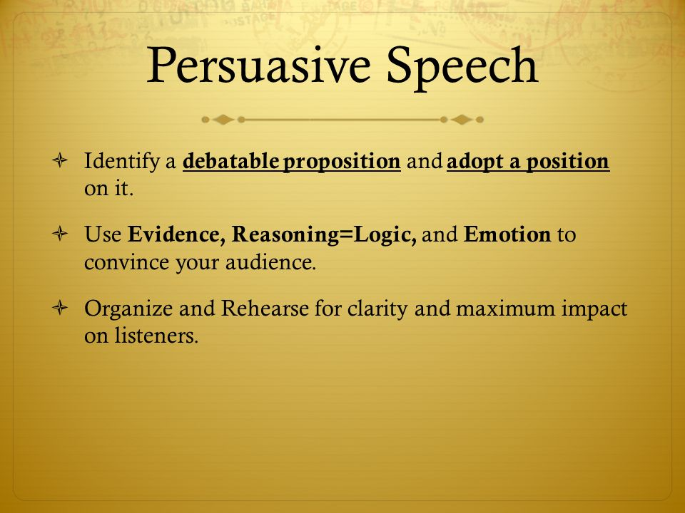 persuasive speech on capital punishment First of all, almost any informative topic can become a persuasive topic by adding a call-to-action step secondly, try to avoid speech topics that deal with fixed beliefs like abortion, capital punishment, religion and so forth.
