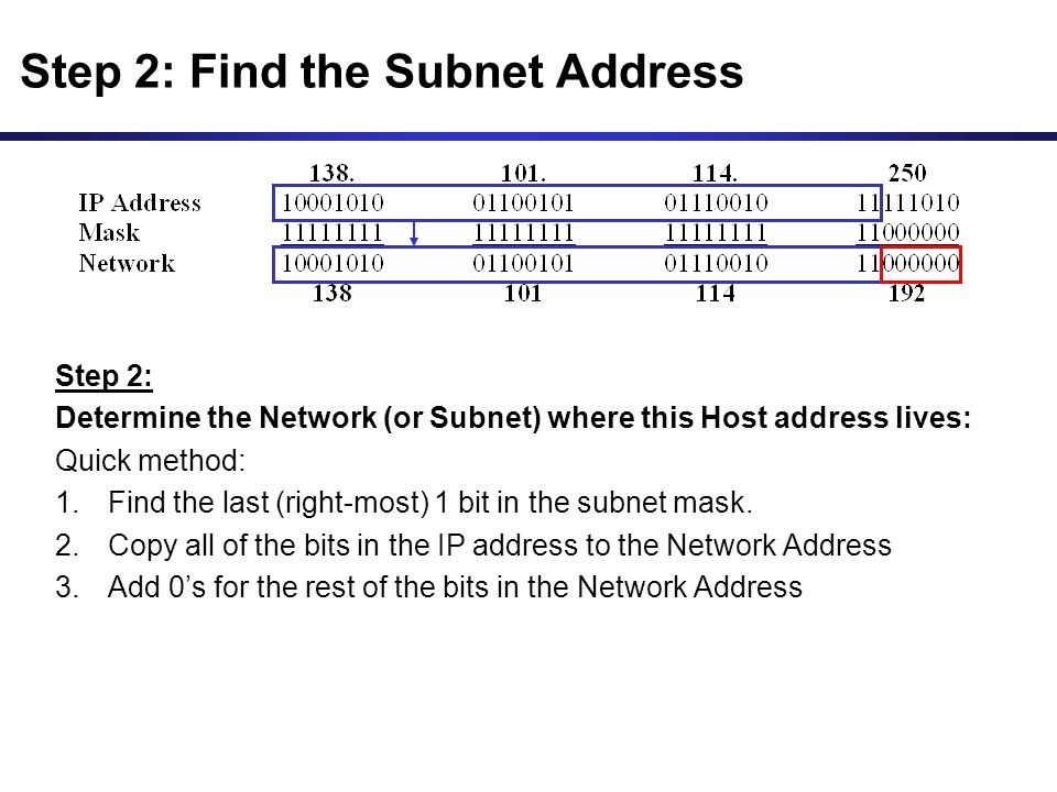 Step 2: Determine the Network (or Subnet) where this Host address lives: Quick method: 1.Find the last (right-most) 1 bit in the subnet mask.