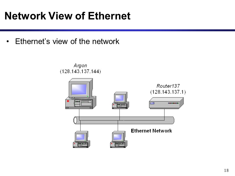 18 Network View of Ethernet Ethernet's view of the network