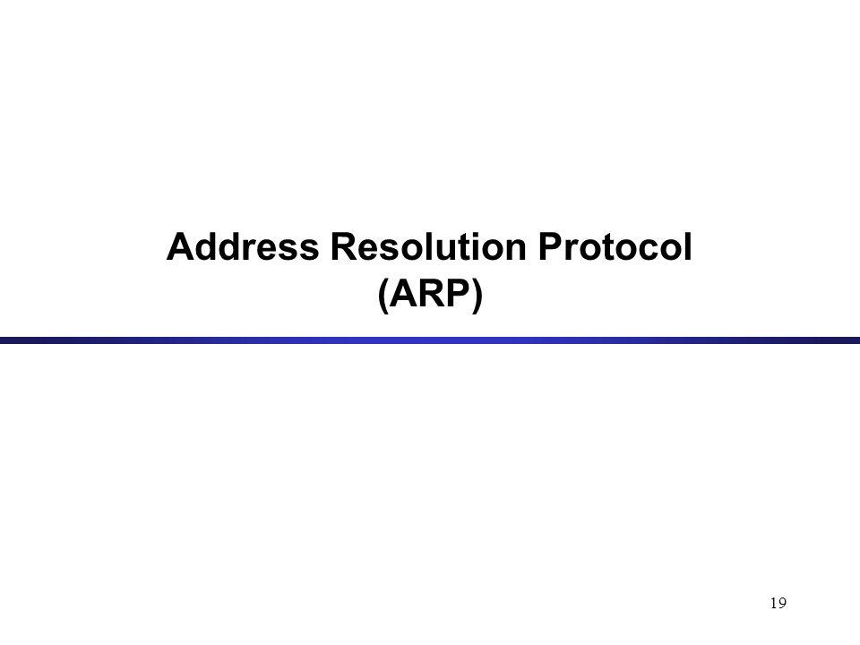 19 Address Resolution Protocol (ARP)