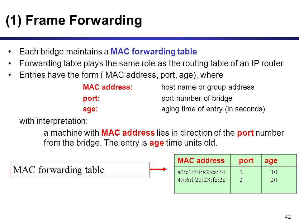 42 (1) Frame Forwarding Each bridge maintains a MAC forwarding table Forwarding table plays the same role as the routing table of an IP router Entries have the form ( MAC address, port, age), where MAC address: host name or group address port:port number of bridge age:aging time of entry (in seconds) with interpretation: a machine with MAC address lies in direction of the port number from the bridge.