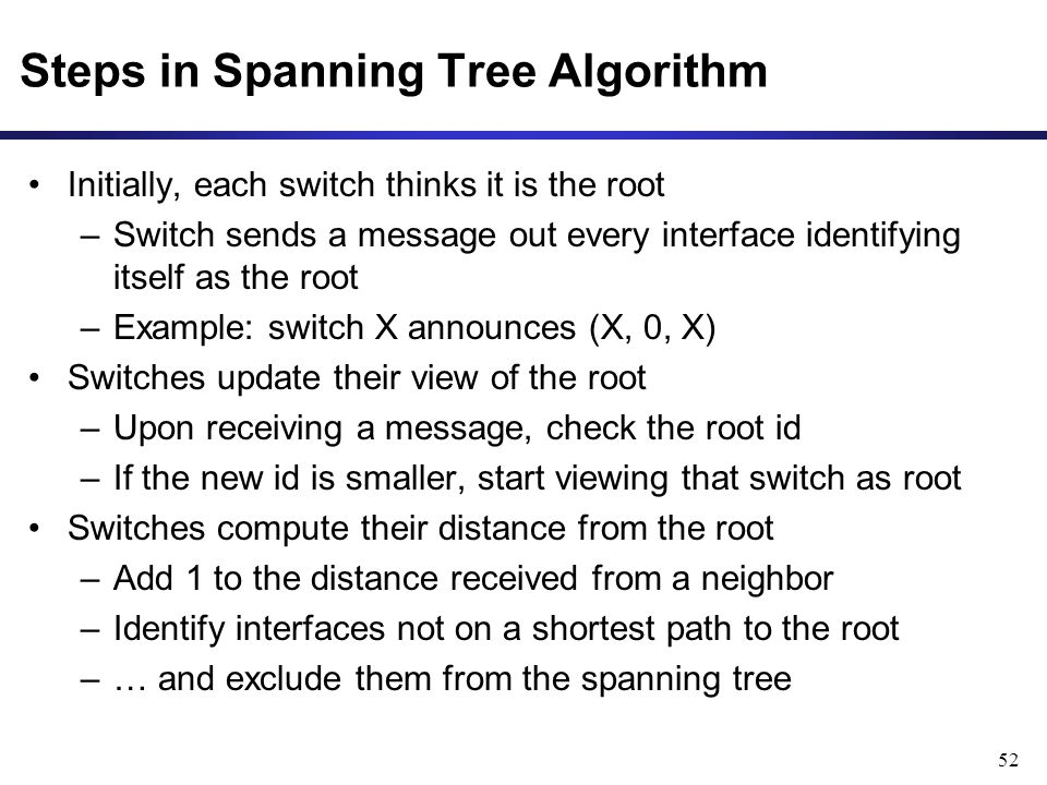 52 Steps in Spanning Tree Algorithm Initially, each switch thinks it is the root –Switch sends a message out every interface identifying itself as the root –Example: switch X announces (X, 0, X) Switches update their view of the root –Upon receiving a message, check the root id –If the new id is smaller, start viewing that switch as root Switches compute their distance from the root –Add 1 to the distance received from a neighbor –Identify interfaces not on a shortest path to the root –… and exclude them from the spanning tree