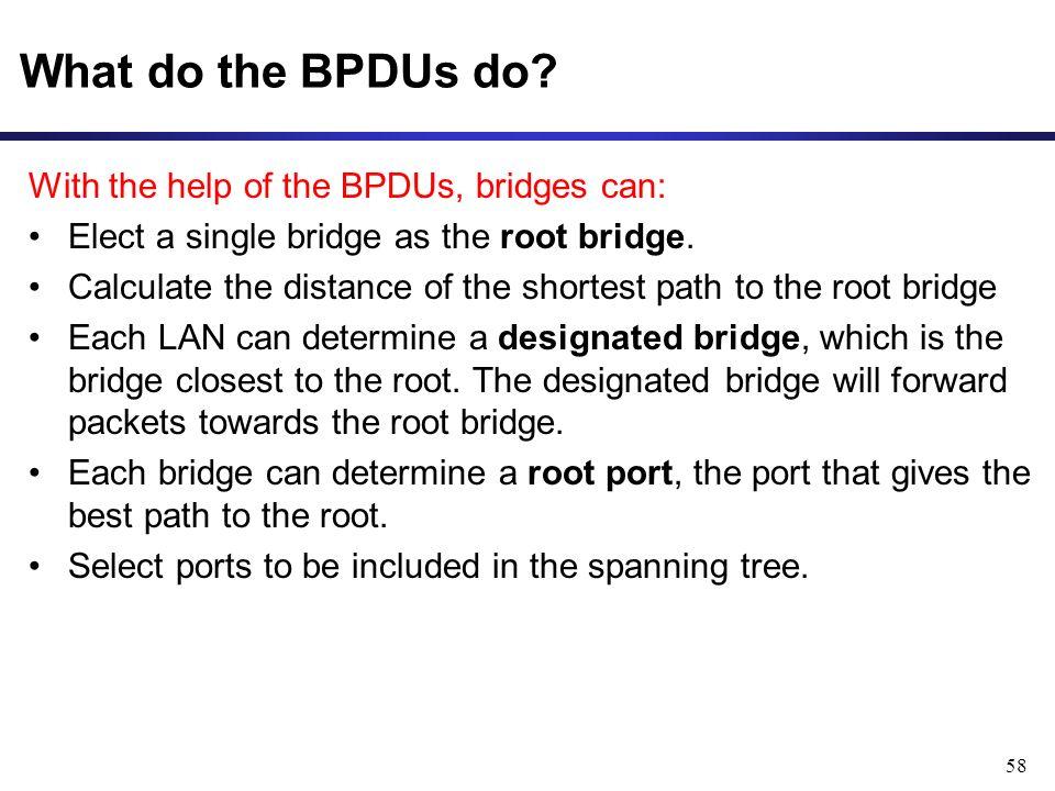 58 What do the BPDUs do.