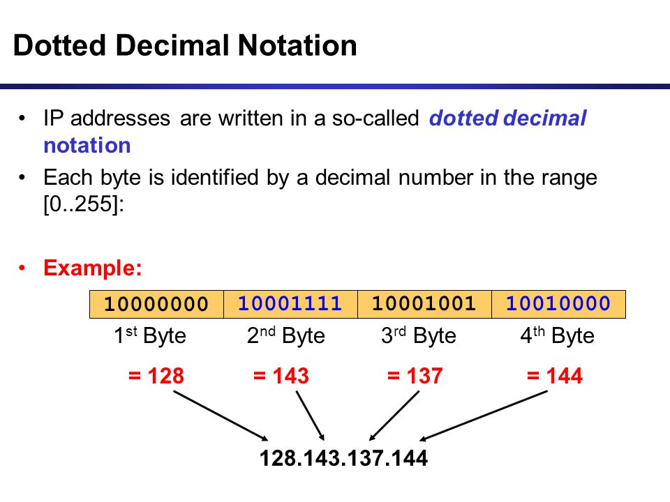 Dotted Decimal Notation IP addresses are written in a so-called dotted decimal notation Each byte is identified by a decimal number in the range [0..255]: Example: 10001111100000001000100110010000 1 st Byte = 128 2 nd Byte = 143 3 rd Byte = 137 4 th Byte = 144 128.143.137.144