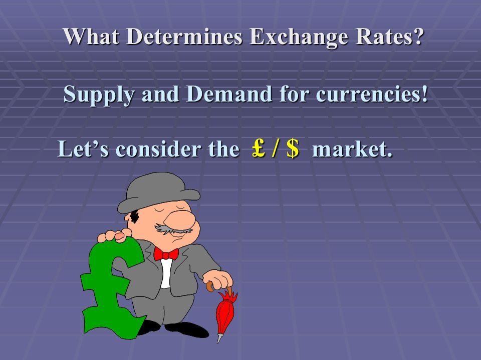 What Determines Exchange Rates. Supply and Demand for currencies.