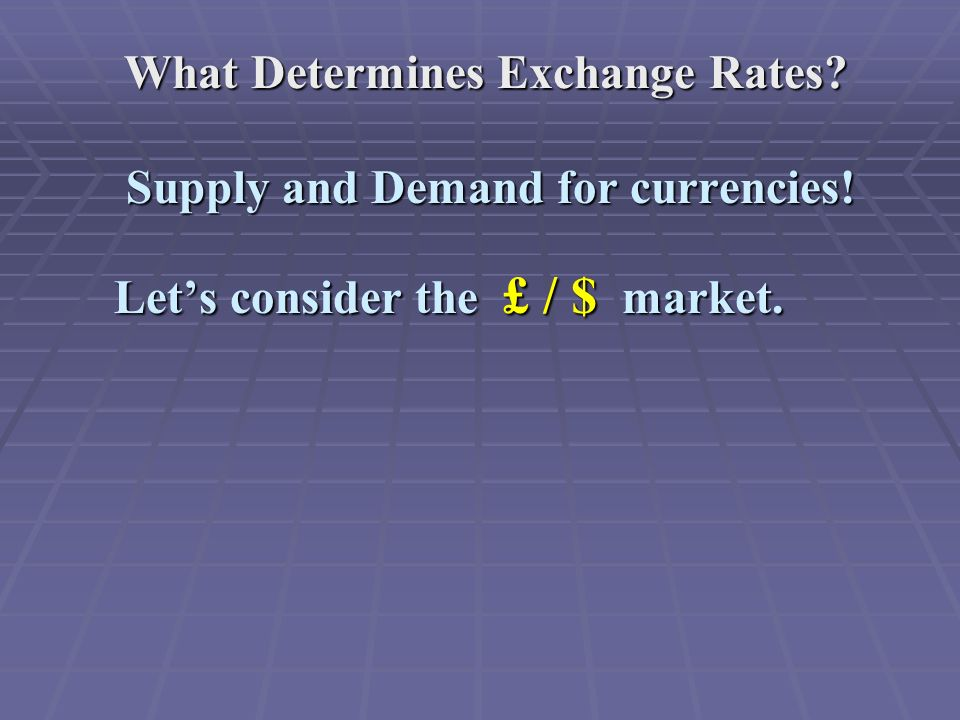 What Determines Exchange Rates.Supply and Demand for currencies.