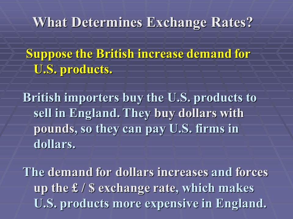 What Determines Exchange Rates.Suppose the British increase demand for U.S.