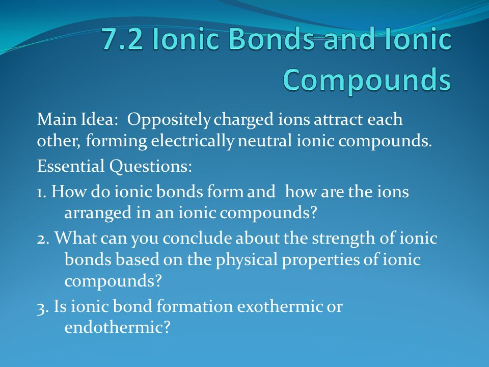 Main Idea: Oppositely charged ions attract each other, forming ...