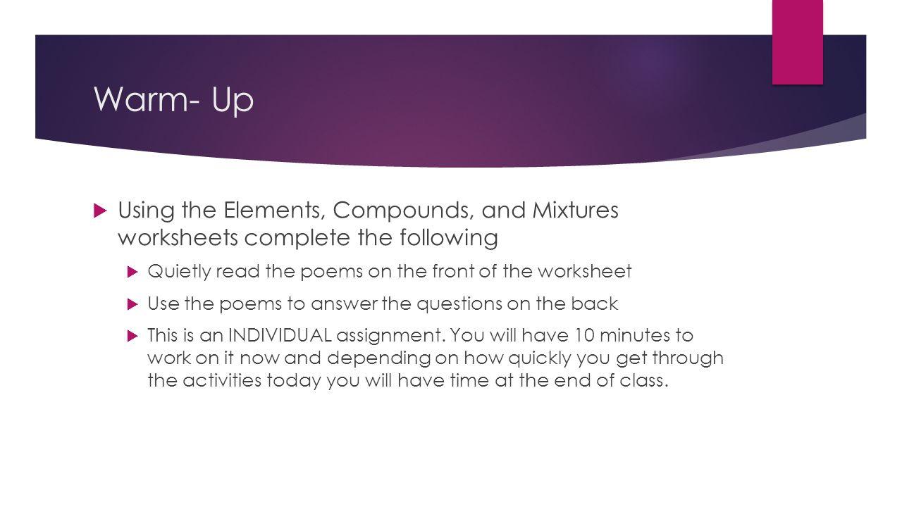 Elements compounds mixtures worksheet pdf