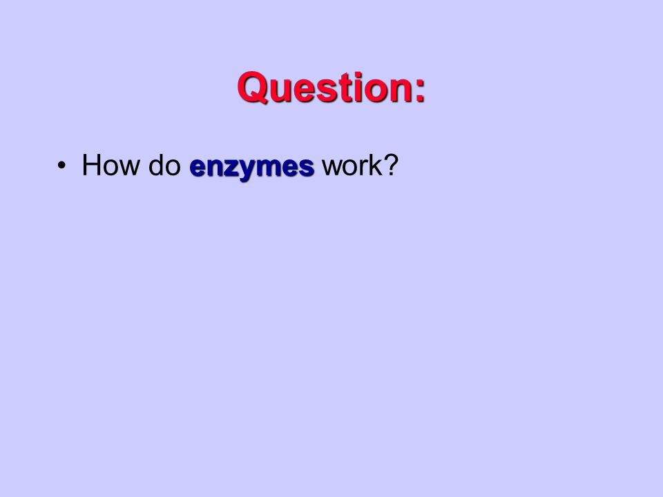 Question: enzymesHow do enzymes work
