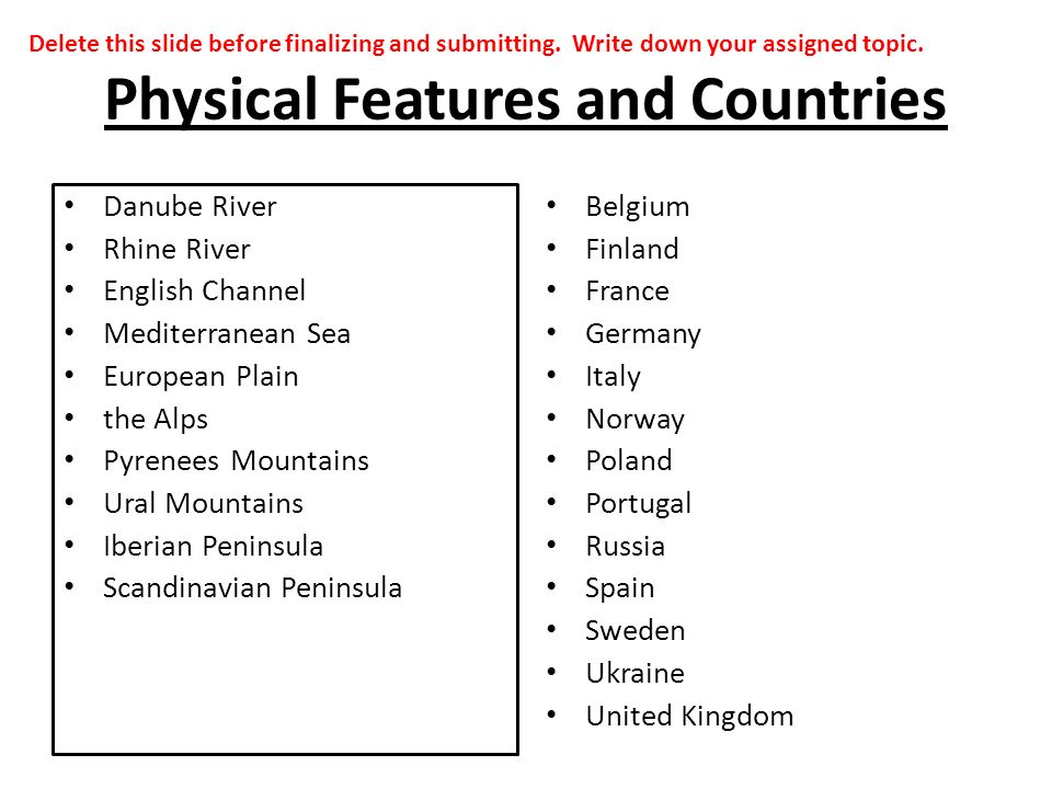 Physical Features and Countries Danube River Rhine River English Channel Mediterranean Sea European Plain the Alps Pyrenees Mountains Ural Mountains Iberian Peninsula Scandinavian Peninsula Belgium Finland France Germany Italy Norway Poland Portugal Russia Spain Sweden Ukraine United Kingdom Delete this slide before finalizing and submitting.