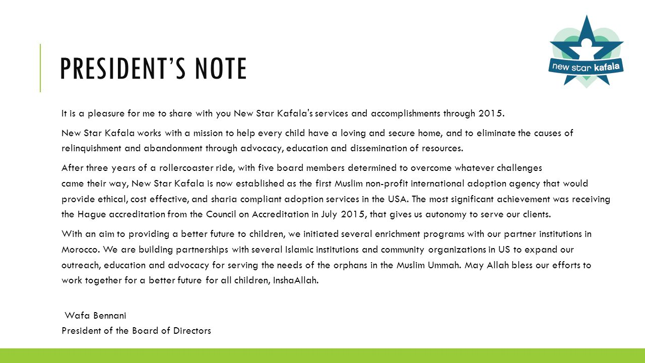 new star kafala fy 2015 annual report outline brief letter from 3 president s