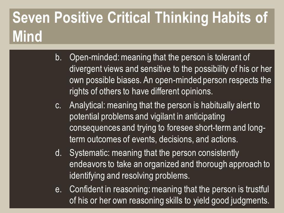 thinking positive habits of mind seven the critical IQ Matrix Blog