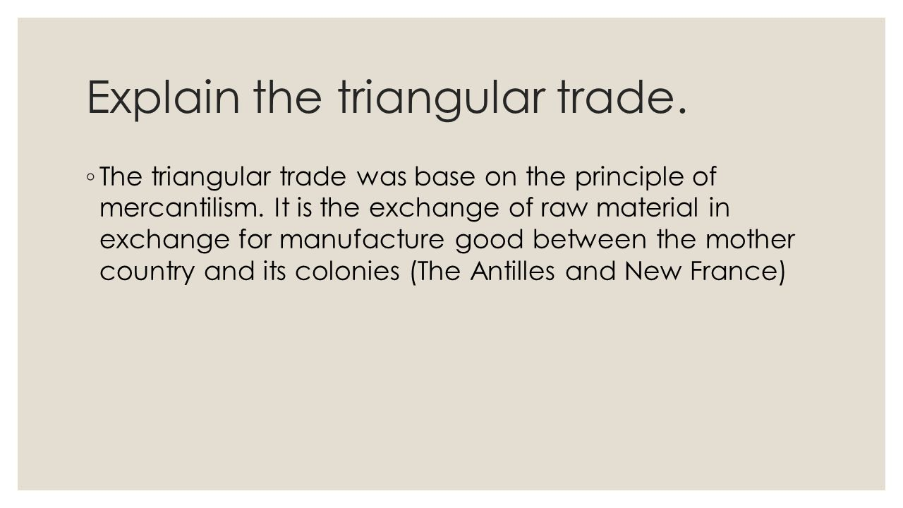 review economy unit how was the territory of quebec occupied by explain the triangular trade 9702 the triangular trade was base on the principle of mercantilism