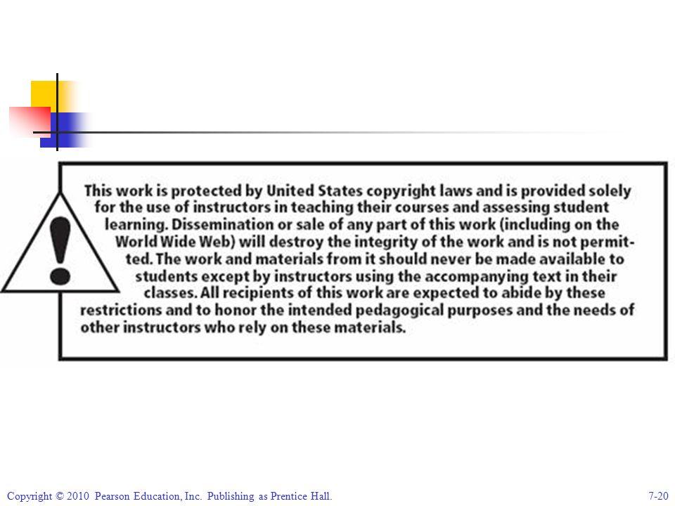 Copyright © 2010 Pearson Education, Inc. Publishing as Prentice Hall.7-20