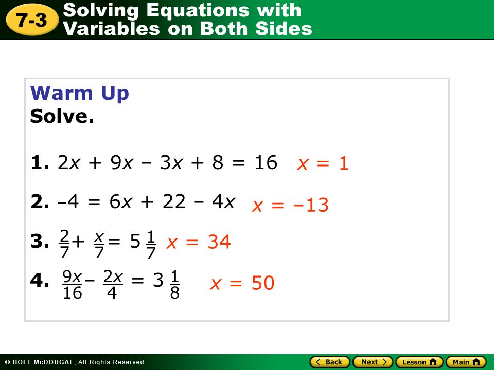 Solving Linear Equations With Variables On Both Sides Worksheet ...