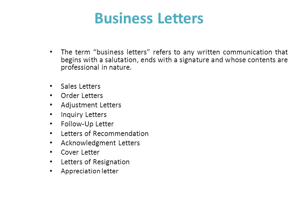 Unit  Iii Business Writing Skills Business Letters The Term