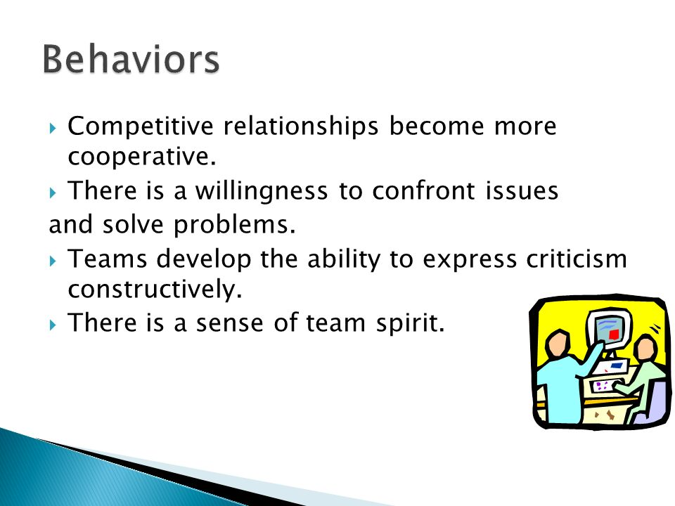  Competitive relationships become more cooperative.