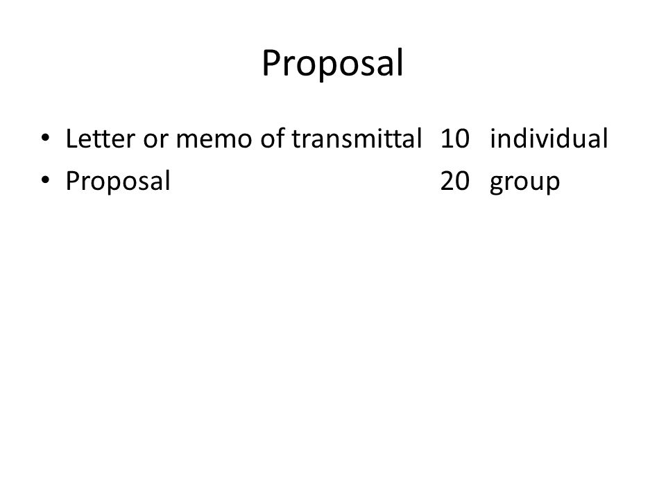 2 Proposal Letter Or Memo Of Transmittal 10 Individual Proposal 20 Group  Letter Of Transmittal For Proposal