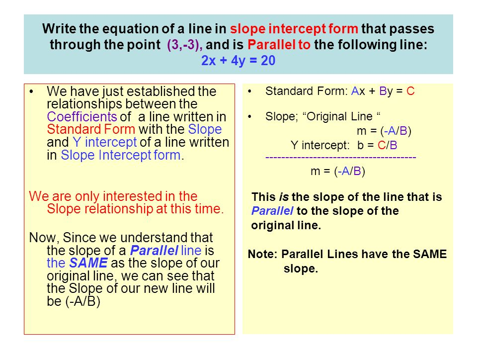 Solving Equations of Parallel and Perpendicular lines The ...