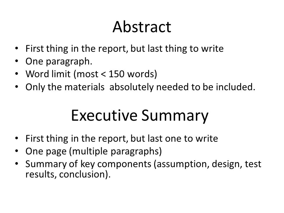 technical writing abstract