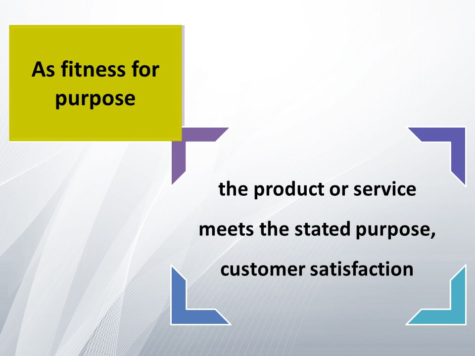the product or service meets the stated purpose, customer satisfaction As fitness for purpose