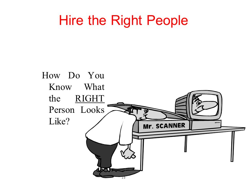 Hire the Right People How Do You Know What the RIGHT Person Looks Like? 18