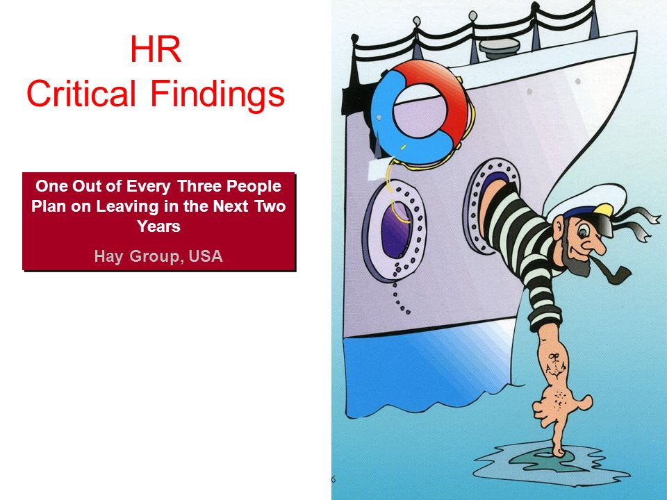 HR Critical Findings One Out of Every Three People Plan on Leaving in the Next Two Years Hay Group, USA One Out of Every Three People Plan on Leaving in the Next Two Years Hay Group, USA 6