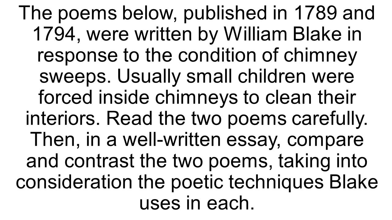 compare and contrast essay blake s chimney sweeper poems 8 prompt