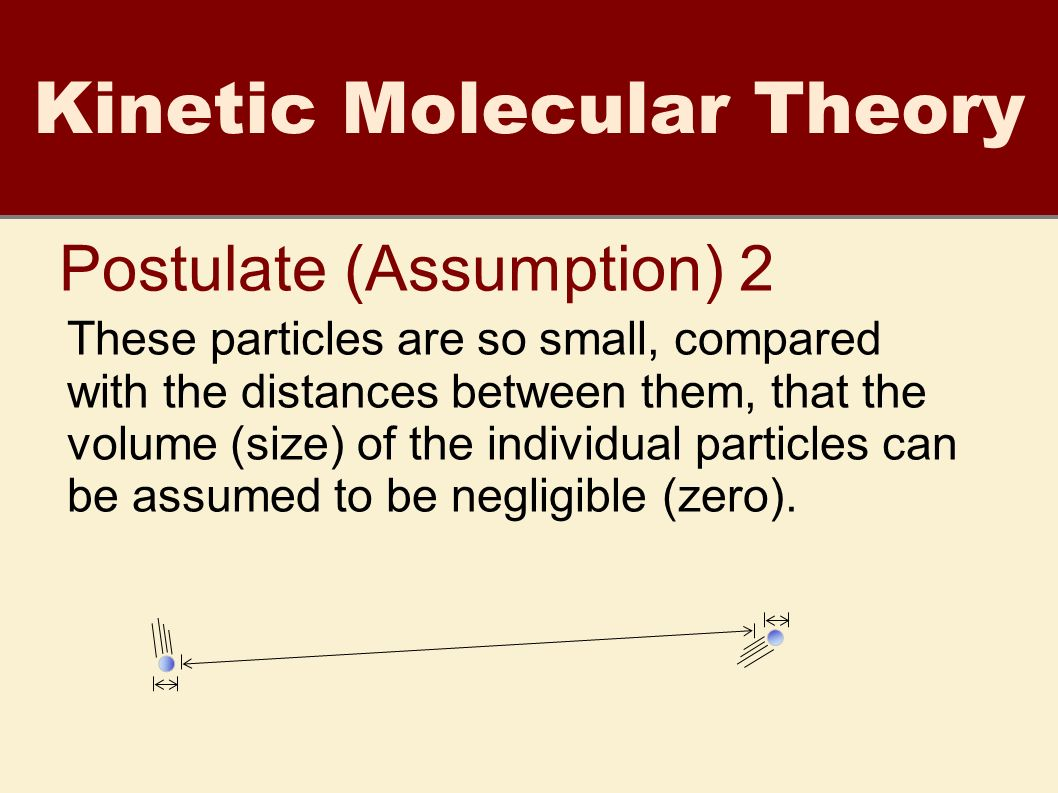 7 Kinetic Molecular Theory Postulate (Assumption) 2 These particles are so  small, compared with the distances between them, that the volume (size) of  the ...