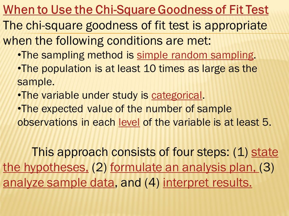 Chi-Square Goodness of Fit Test. In general, the chi-square test ...