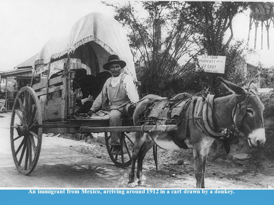 An immigrant from Mexico, arriving around 1912 in a cart drawn by a donkey.