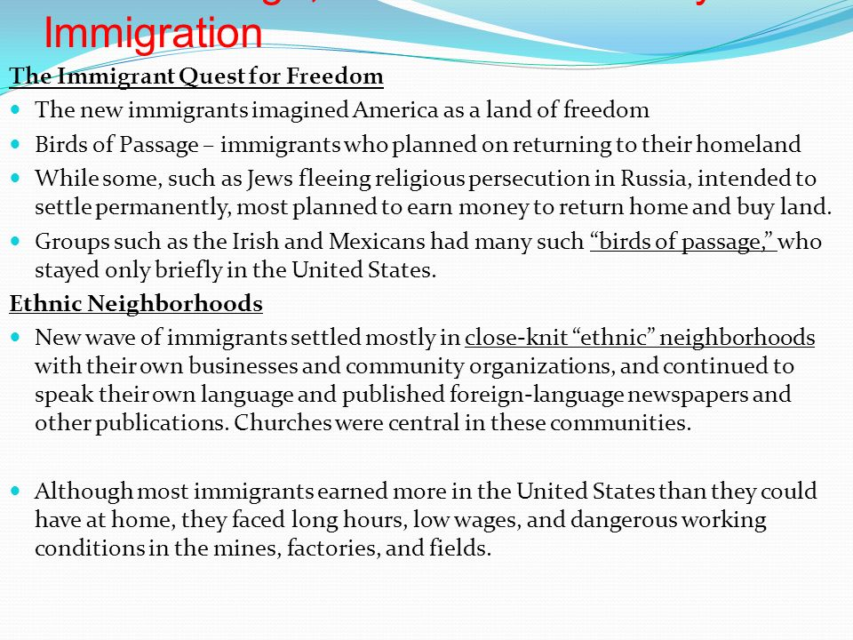 An Urban Age, a Consumer Society - Immigration The Immigrant Quest for Freedom The new immigrants imagined America as a land of freedom Birds of Passage – immigrants who planned on returning to their homeland While some, such as Jews fleeing religious persecution in Russia, intended to settle permanently, most planned to earn money to return home and buy land.