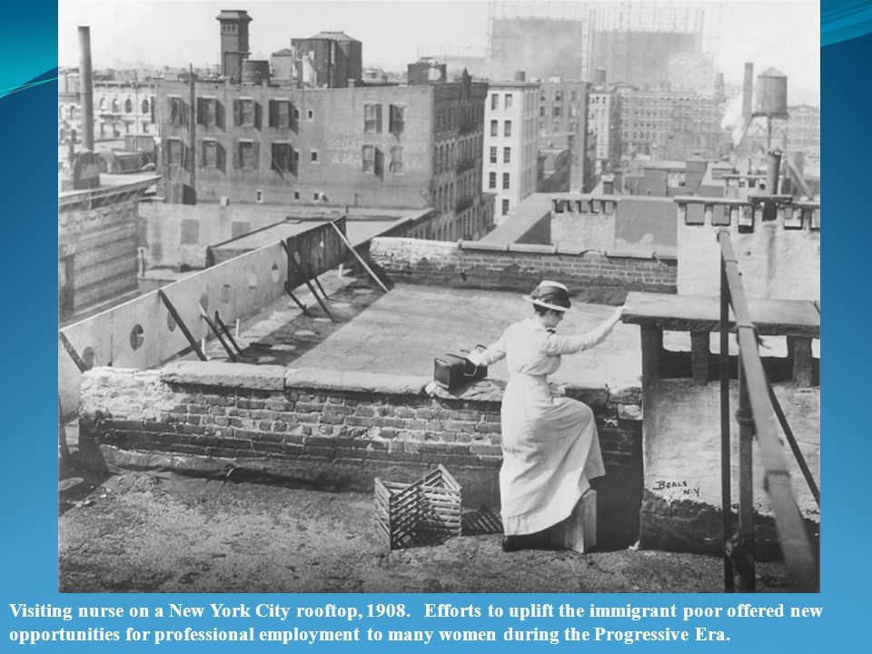 Visiting nurse on a New York City rooftop, 1908.