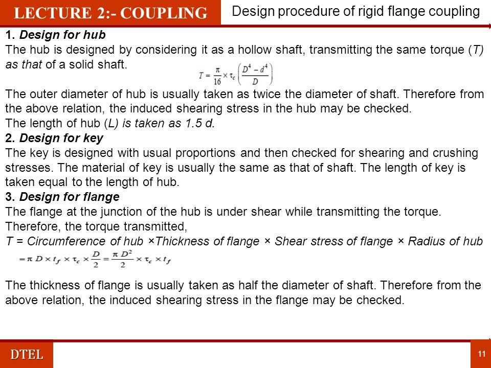 DTEL Design procedure of rigid flange coupling 11 1.