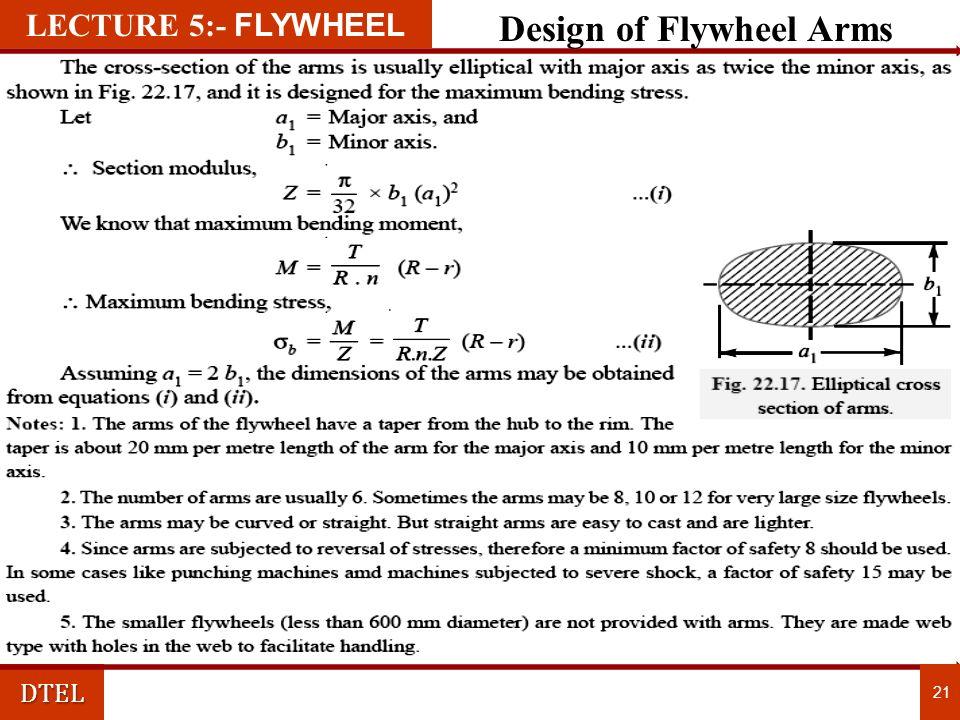 DTEL 21 LECTURE 1:- FLYWHEEL Design of Flywheel Arms LECTURE 5:- FLYWHEEL