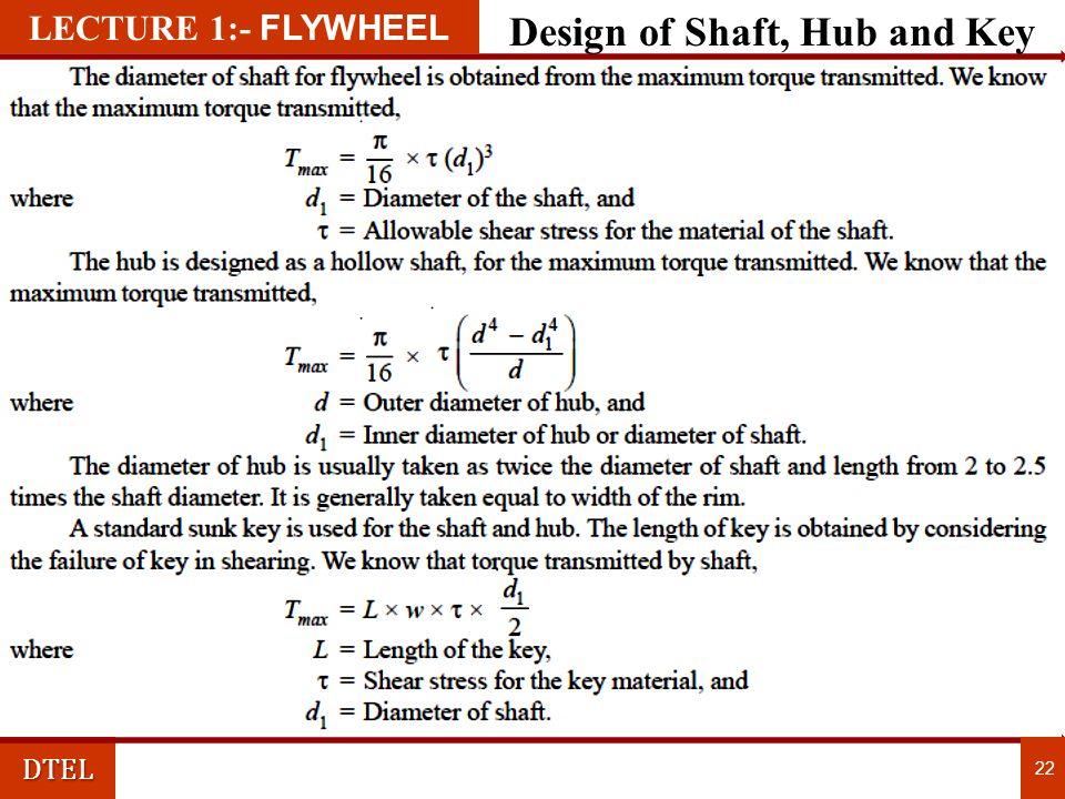 DTEL 22 LECTURE 1:- FLYWHEEL Design of Shaft, Hub and Key